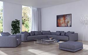 Обои Интерьер Дизайна Гостиная Диване Кресло 3D Графика