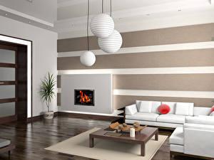 Картинки Интерьер Гостиная Дизайна Люстры Диване Столы 3D Графика