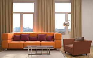 Фотография Интерьер Гостевая Окна Диване Подушка Стола Кресло Дизайна Ламп 3D Графика