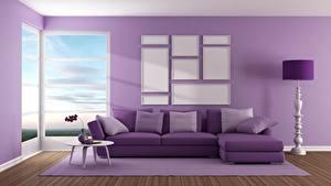 Обои Интерьер Диван Фиолетовый Подушки 3D Графика