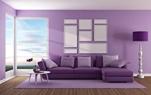 Обои Интерьер Диване Фиолетовый Подушка 3D Графика
