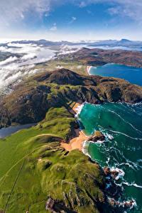 Обои для рабочего стола Ирландия Побережье Сверху Donegal, Melmore Природа