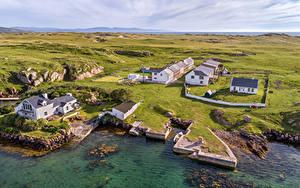 Картинки Ирландия Побережье Здания Сверху Donegal Природа