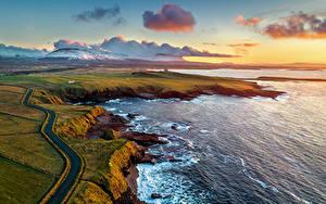 Фотография Ирландия Побережье Горы Дороги Океан Облачно Сверху Mullaghmore Природа