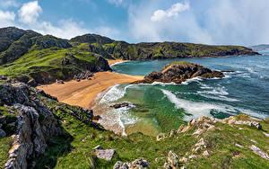 Обои для рабочего стола Ирландия Побережье Камни Океан Утес Donegal, Murder Hole Beach Природа