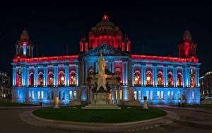 Фотография Ирландия Здания Памятники Ночные Belfast City Hall