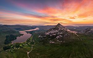 Фотографии Ирландия Гора Рассветы и закаты Небо Сверху Errigal Mountain Природа
