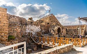 Картинки Израиль Парк Руины Coliseum at Caesarea National Park город