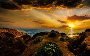 Обои для рабочего стола Израиль Рассвет и закат Побережье Море Небо Облачно Mikhmoret Природа