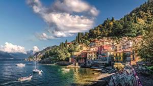 Фотография Италия Побережье Дома Озеро Пирсы Катера Varenna Como Lake Города