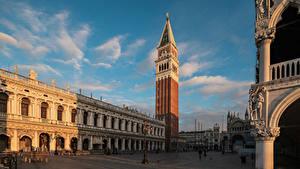 Обои для рабочего стола Италия Дома Собор Венеция Городская площадь Башня San Marco Города