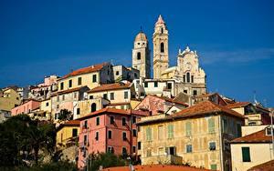 Картинки Италия Здания Церковь Башня Cervo город