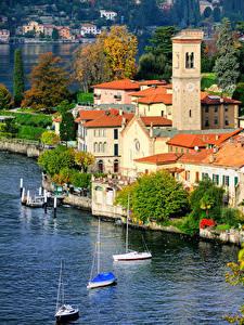 Фотографии Италия Здания Озеро Como Lake Milan город