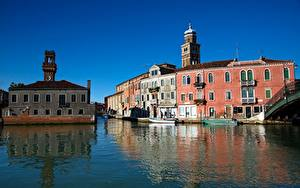 Обои Италия Здания Венеция Водный канал Murano город