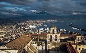 Фото Италия Дома Залива Вулканы Крыше Сверху Облака Naples, Vesuvius, Campania Города