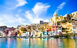 Фотография Италия Здания Море Procida, Campania region, province Naples