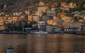 Обои Италия Озеро Дома Пирсы Como Lombardy город