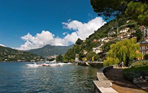 Картинка Италия Озеро Горы Городки Como, Lombardy, Lake Como Города Природа