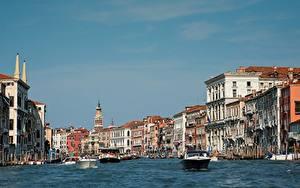 Картинки Италия Катера Здания Венеция Grand canal