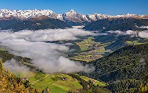 Картинки Италия Горы Альпы Долина Облака Сверху Antholz Valley Природа