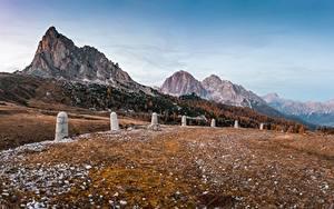 Картинка Италия Гора Осенние Альп Dolomites Природа