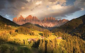Картинка Италия Гора Осенние Лес Здания Луга Пейзаж Альп Funes Valley Природа