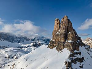 Фото Италия Горы Альпы Скала Снеге Dolomites Природа