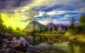 Обои Италия Горы Озеро Облако Деревьев Альп HDR Dolomites Природа