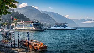Фотографии Италия Гора Озеро Пирсы Речные суда Bellagio at the Como Lake Природа