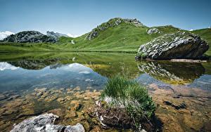 Картинка Италия Гора Озеро Альп Утес Passo Falzarego Природа