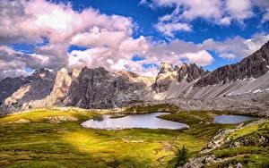 Обои Италия Гора Озеро Пейзаж Облачно Альпы HDR Dolomites Природа
