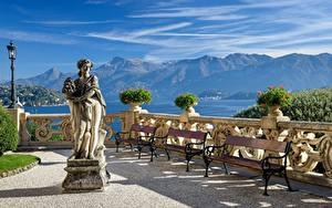Обои Италия Горы Озеро Скульптуры Альпы Фонари Lago di Como Природа