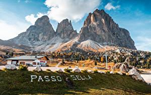 Фото Италия Горы Слова Альп Passo Sella, Dolomites Природа