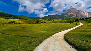 Обои Италия Горы Дороги Альп Облака Trentino-Alto Adige