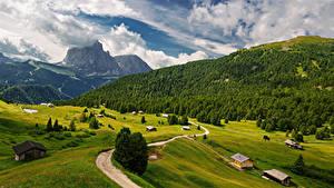 Фото Италия Гора Пейзаж Дороги Альп Облака Trentino-Alto Adige