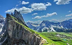 Фотография Италия Гора Небо Пейзаж Альпы Облака Gardena Природа