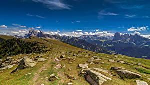 Фотографии Италия Гора Камень Облачно Альп Val di Funes Природа