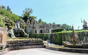 Картинки Италия Парки Водопады Фонтаны Villa D'Este Tivoli город