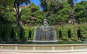 Фотографии Италия Парки Водопады Скульптуры Фонтаны Villa De Este Tivoli Природа