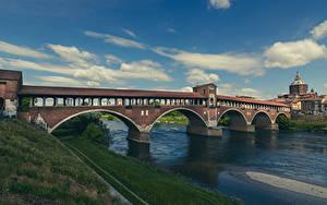 Картинка Италия Реки Мост Облачно Pavia, Ponte Coperto Города