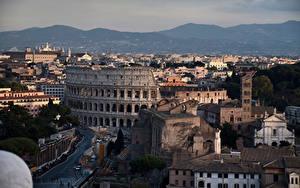 Обои Италия Рим Здания Колизей Горы Города