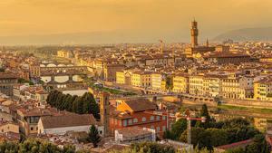 Фотографии Италия Тоскана Здания Речка Мост San Niccolo Florence