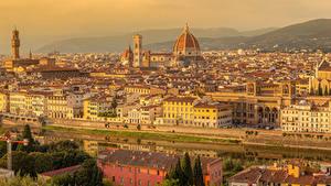 Картинка Италия Тоскана Здания Речка Храм San Niccolo Florence
