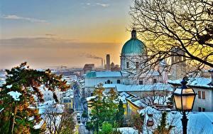 Обои для рабочего стола Италия Зимние Здания Собор Снега Деревья HDR Brescia Города