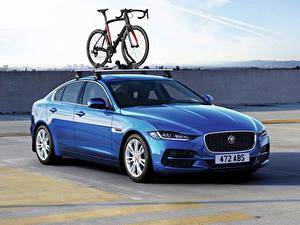 Картинки Ягуар Голубой Велосипед Металлик 2019 XE D180 HSE Worldwide Авто