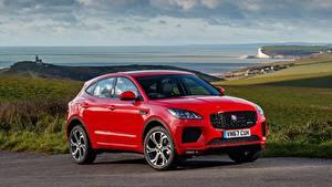 Обои Jaguar Красный CUV E-Pace, R-Dynamic, First Edition, UK-spec, 2017 Автомобили