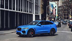 Фото Jaguar Улица Синих Сбоку Кроссовер F-Pace, SVR, US-spec, 2018 Автомобили