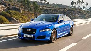 Картинка Jaguar Синих Седан Скорость Металлик XJR575, LWB, 2017 Автомобили