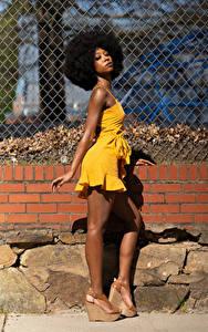 Фото Платье Ноги Поза Негр Смотрит Janae Fulton