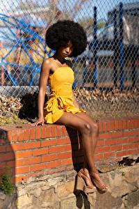 Фотография Негр Сидя Платье Ноги Взгляд Janae Fulton молодая женщина
